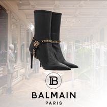 BALMAIN Casual Style Blended Fabrics Plain Leather Pin Heels