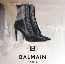 BALMAIN Lace-up Blended Fabrics Chain Plain Leather Pin Heels
