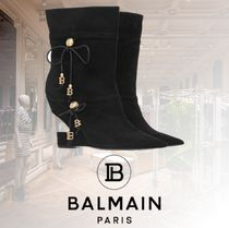 BALMAIN Blended Fabrics Plain Leather Pin Heels Party Style