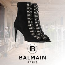 BALMAIN Open Toe Lace-up Casual Style Blended Fabrics Plain Leather