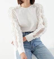 & Other Stories Short Casual Style Long Sleeves Plain Cotton Party Style