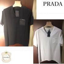 PRADA Crew Neck Plain Cotton Short Sleeves Logo Crew Neck T-Shirts