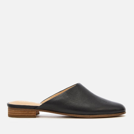 Square Toe Rubber Sole Casual Style Plain Leather