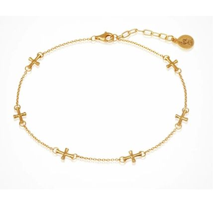 TEMPLE OF THE SUN Cross 18K Gold Anklets