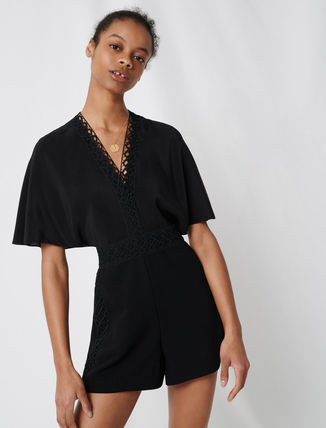Short Dungarees Casual Style V-Neck Plain Short Sleeves
