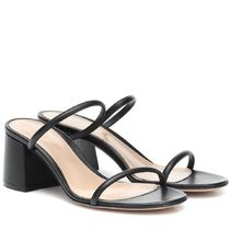 Gianvito Rossi Open Toe Casual Style Plain Leather Block Heels Office Style