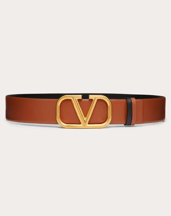 VALENTINO VLOGO Casual Style Leather Party Style Office Style Elegant Style