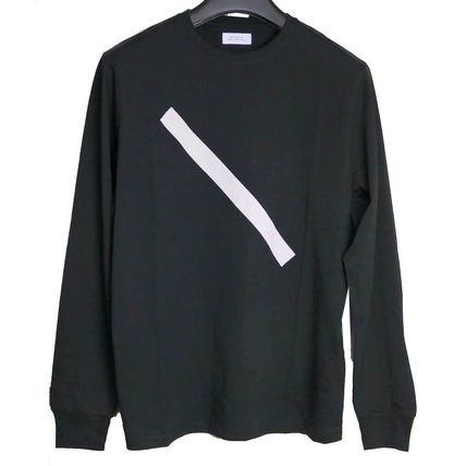 Crew Neck Street Style Bi-color Long Sleeves Plain Cotton