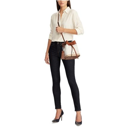 Ralph Lauren Casual Style Blended Fabrics Plain Leather Party Style