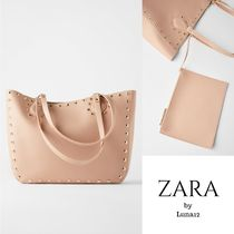 ZARA Casual Style Faux Fur Studded A4 Plain Elegant Style Totes
