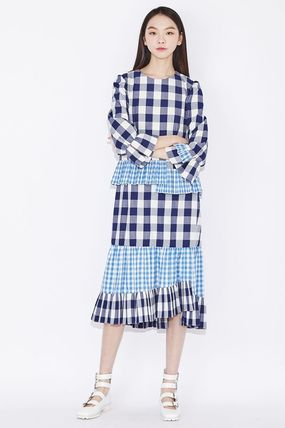 Gingham Casual Style Long Party Style Elegant Style Dresses