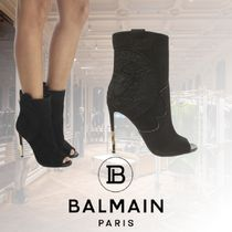 BALMAIN Open Toe Casual Style Blended Fabrics Leather Pin Heels