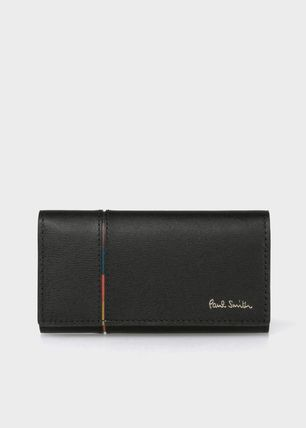 Paul Smith Stripes Unisex Plain Leather Logo Keychains & Holders