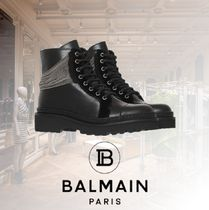 BALMAIN Round Toe Lace-up Casual Style Blended Fabrics Chain Leather