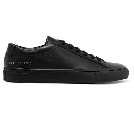 Rubber Sole Lace-up Plain Leather Low-Top Sneakers