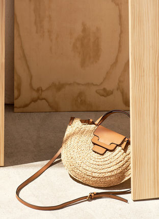 2WAY Leather Crossbody Straw Bags