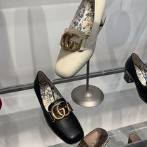 GUCCI Casual Style Plain Leather Block Heels Party Style