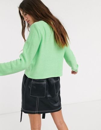 Short Casual Style Rib Long Sleeves Plain Cotton Cropped