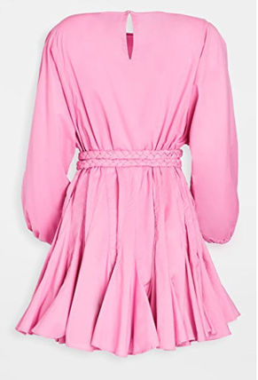 Crew Neck Casual Style Flared Plain Puff Sleeves Dresses