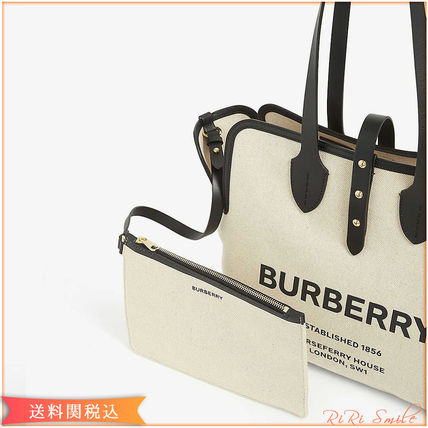 Canvas Plain Leather Logo Totes