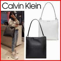 Calvin Klein Casual Style Street Style A4 Plain Logo Satchels