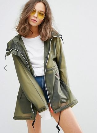 HUNTER Casual Style Plain Raincoat Sheer Outerwear