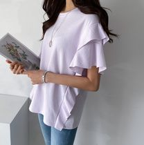 Puff Sleeves Icy Color T-Shirts