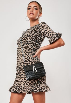 Short Leopard Patterns Casual Style Tight Short Sleeves