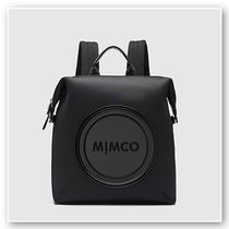 MIMCO Leopard Patterns Casual Style A4 Logo Backpacks