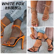 WHITE FOX Open Toe Lace-up Casual Style Street Style Plain Pin Heels