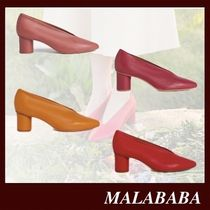 Malababa Casual Style Sheepskin Plain Leather Block Heels