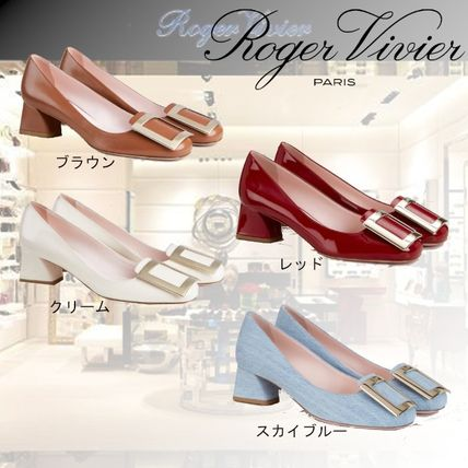 Roger Vivier Round Toe Casual Style Plain Leather Block Heels Party Style
