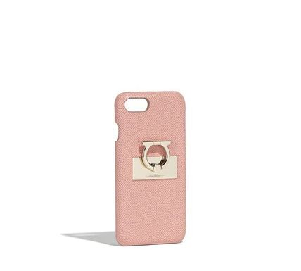 Flower Patterns Plain Leather Bunker Ring iPhone 8 Logo