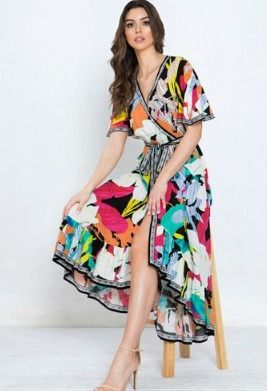 Wrap Dresses Flower Patterns Casual Style V-Neck Cotton Long