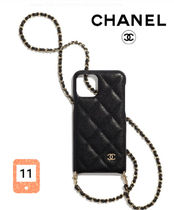 CHANEL Plain Leather Logo iPhone 11 Smart Phone Cases