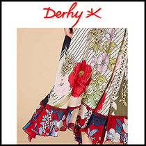 Derhy Flared Skirts Flower Patterns Casual Style Long