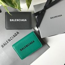 BALENCIAGA EVERYDAY TOTE Plain Leather Folding Wallet Logo Folding Wallets
