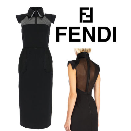 FENDI Tight Sleeveless Plain Medium Short Sleeves Party Style