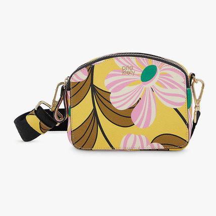 Flower Patterns Casual Style Blended Fabrics Crossbody Logo