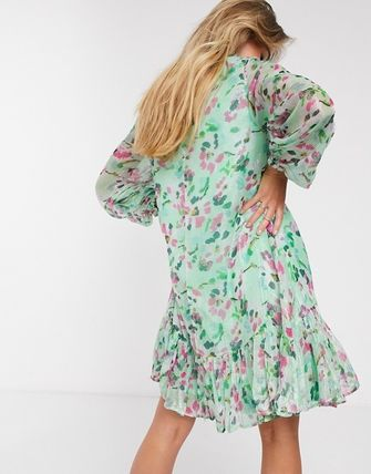 Short Flower Patterns Casual Style Long Sleeves Dresses