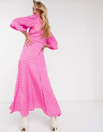 Dots Casual Style Maxi V-Neck Long Puff Sleeves Dresses