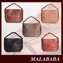 Malababa Casual Style 2WAY Plain Leather Party Style Crossbody