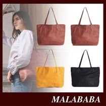 Malababa Casual Style A4 Plain Leather Office Style Totes