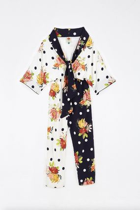Flower Patterns Dots Tropical Patterns Casual Style Silk