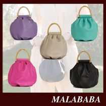 Malababa Casual Style Lambskin 2WAY Plain Leather Party Style