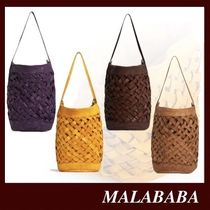 Malababa Casual Style 2WAY Plain Leather Office Style Crossbody