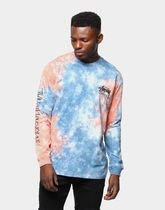 STUSSY Crew Neck Street Style Tie-dye Long Sleeves Cotton
