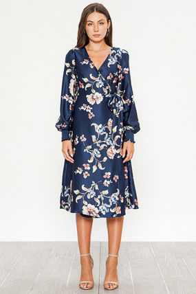 Wrap Dresses Flower Patterns A-line Flared V-Neck