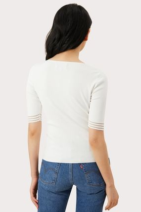 Casual Style Plain Short Sleeves Tops