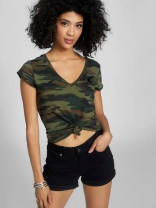 Camouflage Blended Fabrics Street Style Cotton Short Sleeves